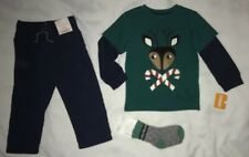Gymboree Boy Size 18-24 Month Holiday Reindeer Top Gymster Pant Socks Green Navy