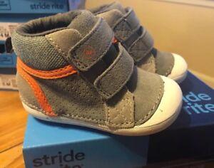 Stride Rite Milo Grey Gray Orange Boys Toddler Velcro High Tops New W/ Box