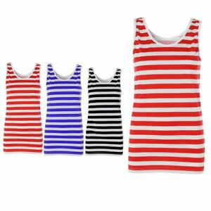 Womens Red And White Striped Vest Top Ladies Outfit Party Fancy Dress Top