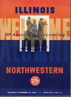 1949 11/19 College Football Program, Northwestern Wildcats v U of Illinois~ Good