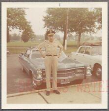 Vintage Car Photo Man in Service Hat w/ 1966 Cadillac Automobile 762883