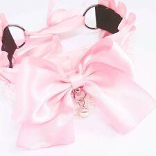 Pink Satin lace bow Kitten Play BDSM abdl steampunk Collar choker kawaii bell