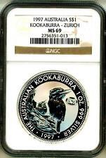 1997 S$1 Australia Kookaburra Zurich Privy NGC MS69