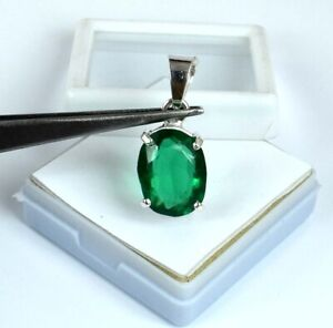 925 Sterling Silver Muzo Emerald 12.80 Ct Oval Pendant Natural Certified G7971