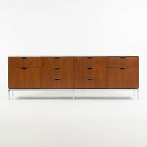 1960's Vintage Florence Knoll Walnut and Marble Credenza Cabinet Sideboard