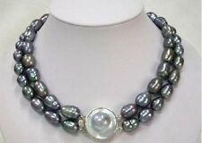 Vogue 2 Strands 10-11mm Black Freshwater Pearl Necklace Mabe Clasp 19-20""
