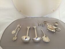 LOVELY SELECTION OF SILVER PLATED ITEMS. LADLES, THIMBLES, TONGS ETC.