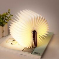 Wooden Book Lamp Rechargeable Foldable Portable Home Decor USB Night Book Light
