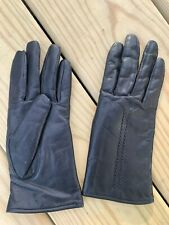 Vintage Cowhide Leather Rabbit Fur Lined Women's Ladies Gloves Size Small Black