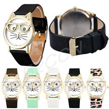 Fashion Women Lady Watch Cute Glasses Cat Analog Quartz Dial Classic Wrist Watch