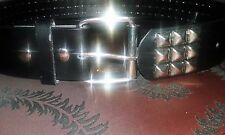 Unisex Belt Black Leather Silver Studs Surface-Buckle Edgy-Rock-Punk Style A