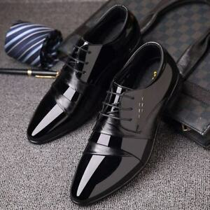 Formal Party Shoes Men's Business Lace Up Pointy Toe Patent Shiny Dress