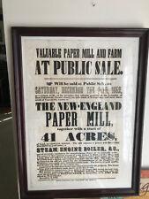 Framed 1852 Antique Auction Sale Poster Coatesville Pennsylvania Paper Mill