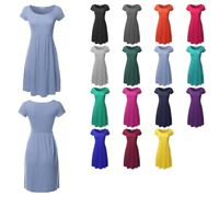FashionOutfit Women's Solid Cap Sleeves Round Neck Flare Bottom Midi Dress