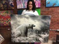 Polar Bear on Ice Canvas Print Huge Framed Wall Art Decoration Cotton Canvas