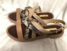 BCBG MAXAZRIA SHOES flats brown sandals leather snake  straps Size: 9/39