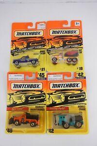 Lot of 4 Matchbox 1/64 GMC Wrecker #21 Mobile Crane #42 Cement #19 Highway #45