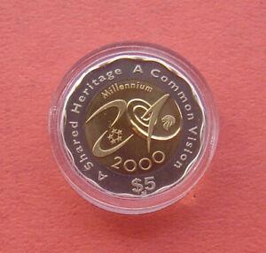 Singapore 2000 Turn of the Millennium 5 Dollars Bi-metallic Proof Coin in Card