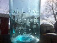 Antique Fruit Jar Embossed Atlas Improved Mason Sky Blue Aqua Color