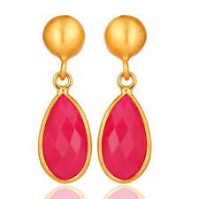 18k Gold Plated Gemstone Jewelry Pink Chalcedony Silver Dangle Earrings