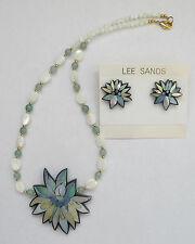 Lee Sands Green Aventurine/Mother of Pearl Orchid Inlaid Necklace & Earrings
