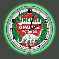 "19"" Sinclair Opaline Motor Oil Sign Green Double Neon Clock Man Cave Garage"