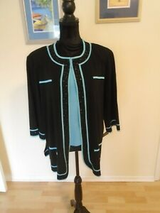 MING WANG Size 2X Preowned Two Piece Black and Aqua Set Jacket 2X  Top XL