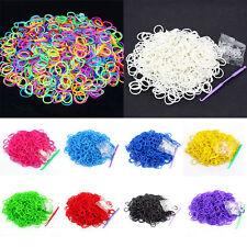 600PCS 24Clips1loom Tie Dye Rainbow Rubber Bands Loom Refill DIY Bracelet
