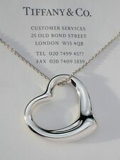 "Tiffany & Co Elsa Peretti 36mm Open Heart Sterling Silver Pendant 32"" Necklace"
