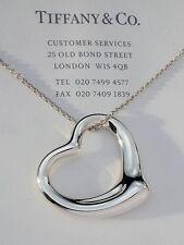 "Tiffany & Co Elsa Peretti Sterling Silver 36mm Open Heart Pendant 32"" Necklace"