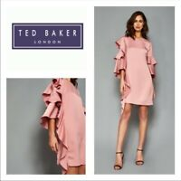 Ted Baker Eicio Frill Tunic Cocktail Dress Layered Ruffle Sleeves Pink Sz 3/ US8
