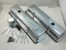 SB Chevy SBC Chrome Valve Cover Kit W/ Tall Valve Covers 283 305 307 327 350 V8