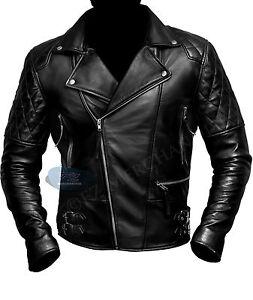 Mens Motorcycle Brando Biker Vintage Moto Racer Retro Black Real Leather Jacket