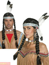 Ladies Pocahontas Native Indian Wig Adults Indian Western Fancy Dress Accessory