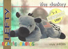 Ty Beanie Babies Bboc Card - Series 1 Retired (Gold) - Lefty the Donkey - Nm/M