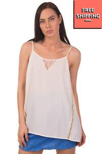 LIU JO JEANS Cami Top Size 40 Lace Trim Rhinestoned Logo Adjustable Strappy