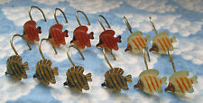 Red Blue & Yellow Striped Fish Shower Curtain Hooks Set Of 12