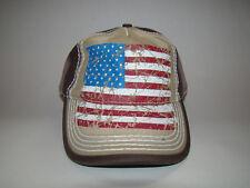 American Flag Baseball Hat Cap Adjustable USA Tan Brown Red White Blue Unisex