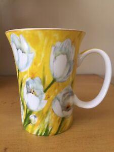 GRACIE Bone China White Tulip Floral Garden Yellow Coffee Tea Mug 12oz MINT!