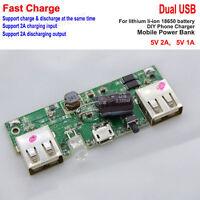 5V 2A Lithium li-ion 18650 battery Dual USB charger Module Board DIY Phone Bank