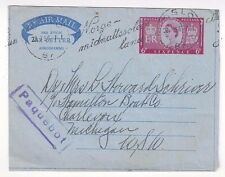 1956 Oslo Norway Paquebot on Great Britain QEII 6d Air Letter to US, Ship