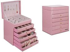 Extra Large Leather Croco 6 Layer Jewelry Organizer Box Storage Case Pink