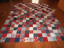 Quilt Top Patriotic Red White Blue Twin Size
