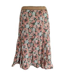 BRORA Womens Pink Mix Floral Cotton Blend A-Line Skirt. Size UK 12, EU 40.