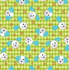 Joey the Shop Dog: Happy Joey Green Cotton Fabric