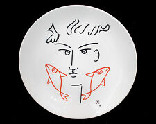JEAN COCTEAU E'ditions D'Art Made In France Plate Face 2 Red Fish
