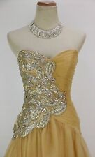 NEW $500 Jovani Size 0 Strapless Ball Long Gown Evening Prom Formal Gold Dress