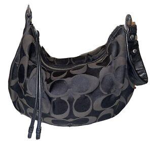 Coach Womens Purse Handbag Tote Leather Shoulder Straps Black Cloth Medium Size