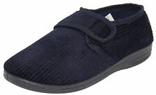 Mens Outdoor Corduroy Style Slippers Padded Diabetic Friendly Low Top Shoe Navy UK 9 / EU 42