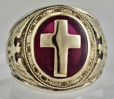 Vintage 1957 10K Yellow Gold Sterling Military Eagle Ring Center Red Cross S 8